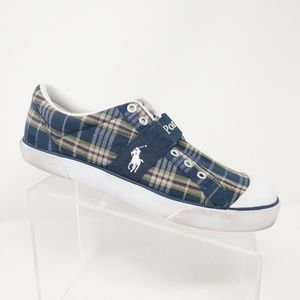 Polo Ralph Lauren Mens Navy Red Plaid Sneaker 10.5